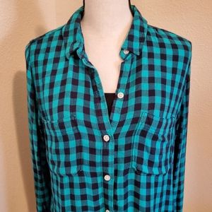 Perfect Shirt Green & Black Checkered Shirt Size L